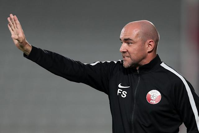 Qatar coach Felix Sanchez would like his team to play in the Copa America (AFP Photo/KARIM JAAFAR)