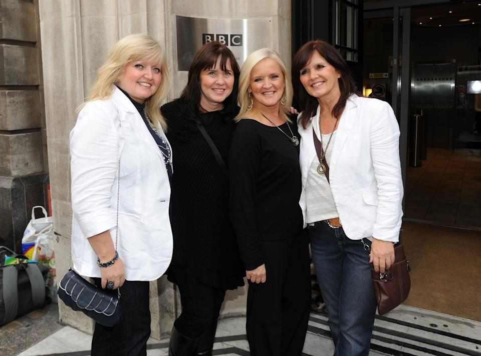 LONDON, UNITED KINGDOM - SEPTEMBER 25: Linda, Coleen, Bernie and Maureen of the The Nolans sighted at BBC Radio 2 on September 25, 2012 in London, England. (Photo by SAV/FilmMagic)