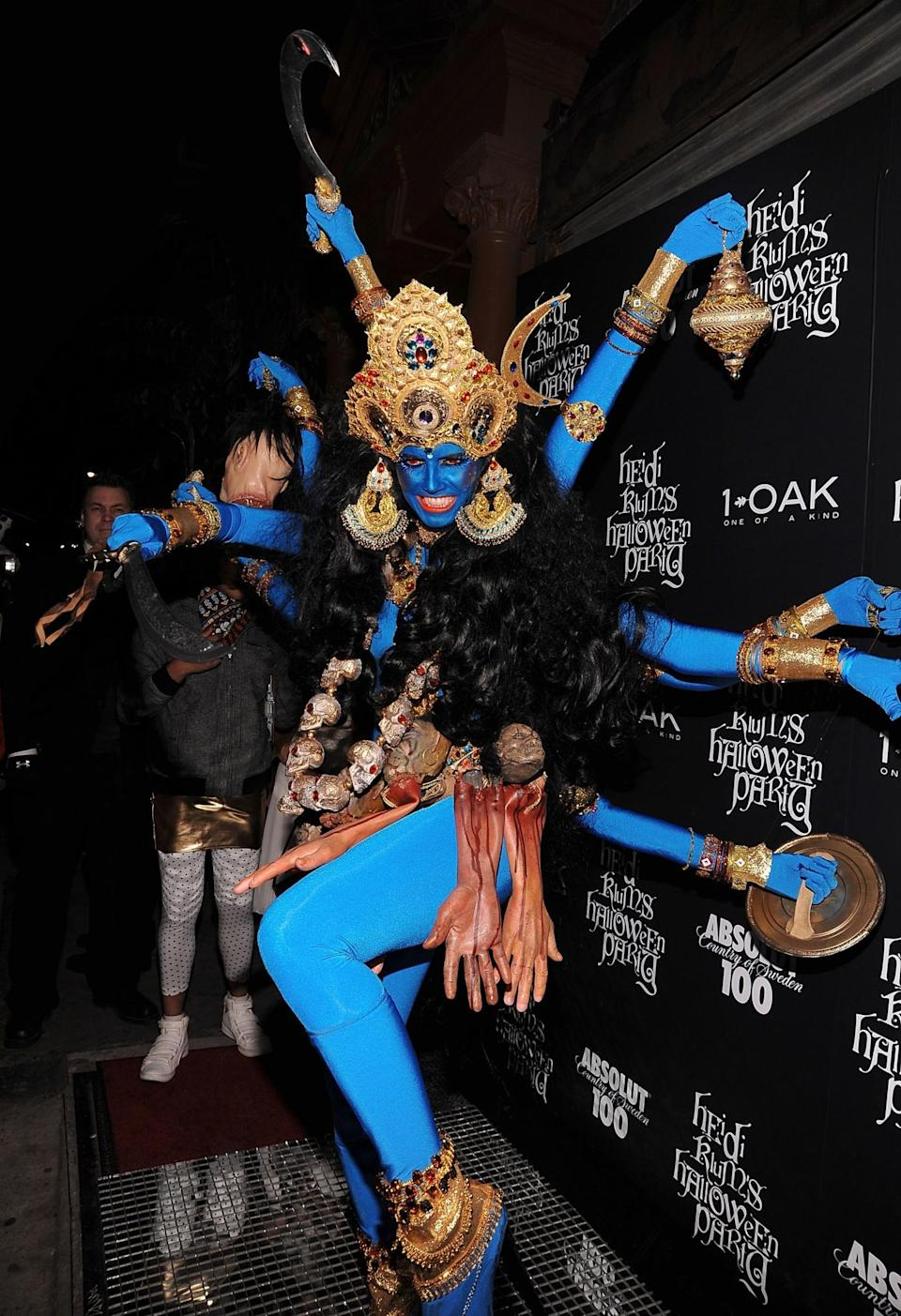 """<p>Hindu leaders demanded an apology from Klum after she appeared as the Hindu goddess Kali, a sacred figure that Indian-American community leader Rajan Zed said """"is meant to be worshipped in temples, not to be used in clubs for publicity stunts or thrown around loosely for dramatic effect."""" (Photo: Getty Images) </p>"""