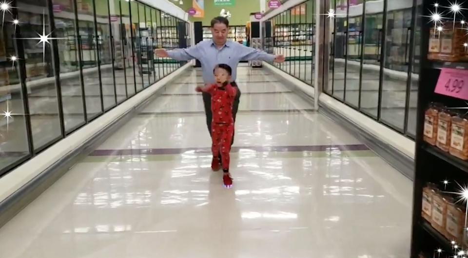 A 5-year-old boy, the night before going into surgery, asked his grandpa to have a dance party with him in the middle of the grocery store. (Photo: Facebook)
