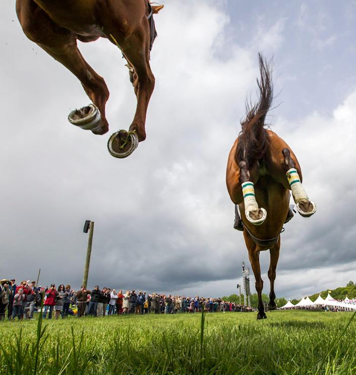 Horses clear the first jump during the Winterthur Bowl race at the 39th Annual Point-to-Point at Winterthur in 2017.