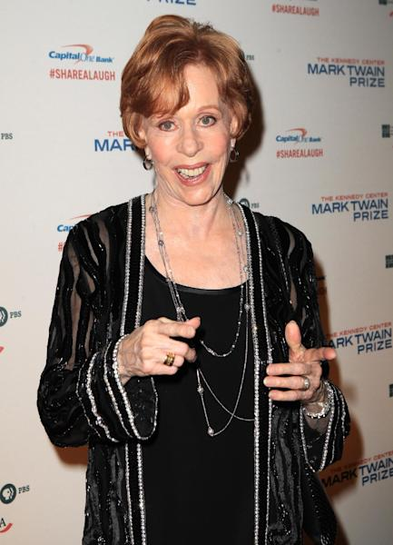 Carol Burnett arrives at 16th Annual Mark Twain Prize presented to Carol Burnett at the Kennedy Center on Sunday, Oct. 20, 2013 in Washington, D.C. (Photo by Owen Sweeney/Invision/AP)