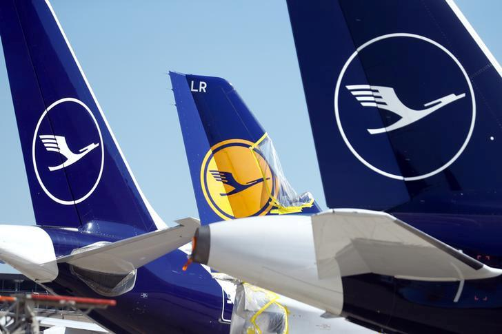FILE PHOTO: Planes of German airline Lufthansa parked at Frankfurt airport