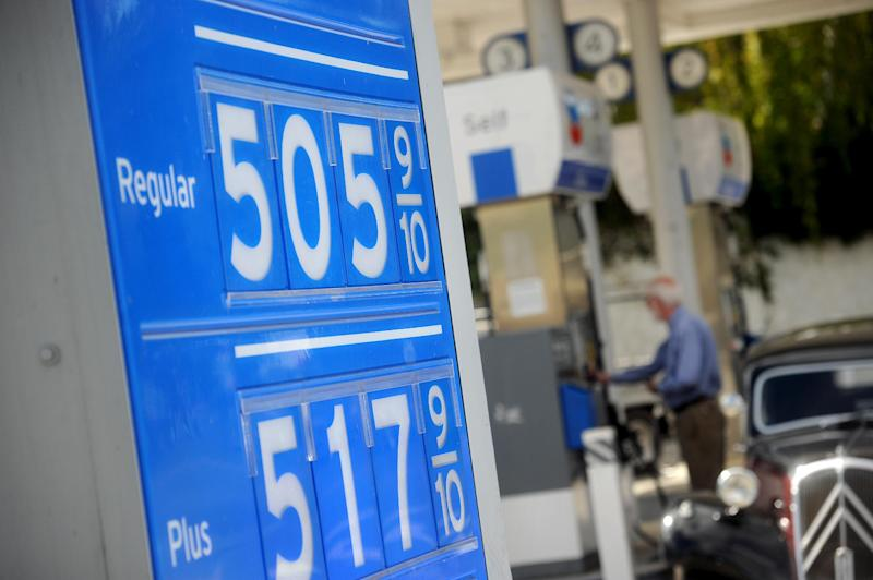Gasoline prices higher than $5 per gallon are posted at a Menlo Park, Calif., Chevron station on Friday, Oct. 5, 2012. Californians woke up to a shock Friday as overnight gasoline prices jumped by as much as 20 cents a gallon in some areas, ending a week of soaring costs that saw some stations close and others charge record prices. The average price of regular gas across the state was nearly $4.49 a gallon, the highest in the nation, according to AAA's Daily Fuel Gauge report. (AP Photo/Noah Berger)