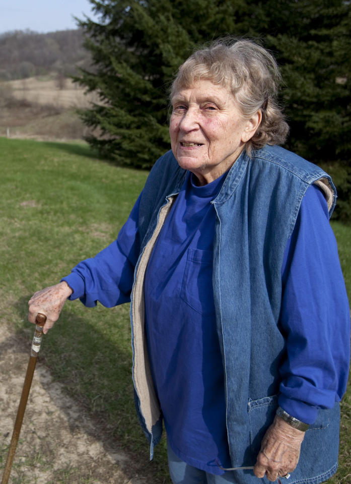 Lana Peters is photographed on a rural road outside of Richland Center, Wis., Tuesday, April 13, 2010. Peters, or Svetlana Alliluyeva, daughter of the late Soviet dictator Josef Stalin, has died of colon cancer Nov. 22, 2011. She was 85. (AP Photo/Wisconsin State Journal, Steve Apps)