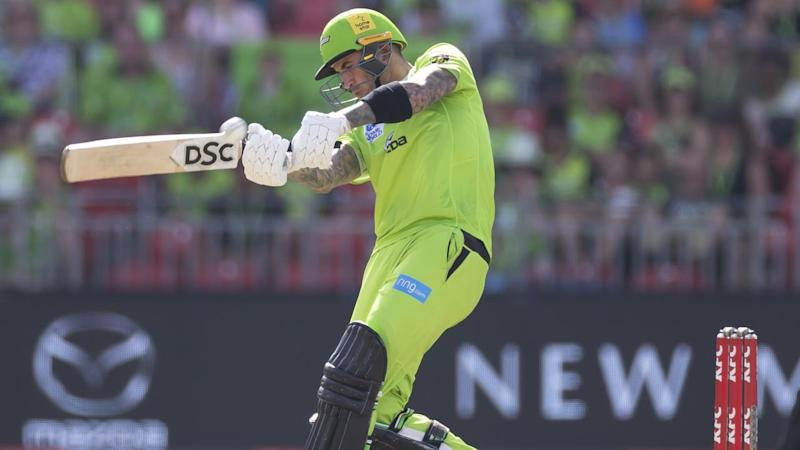 Alex Hales has hit 47 off 27 balls for Sydney Thunder who've earned a vital home BBL win over Perth
