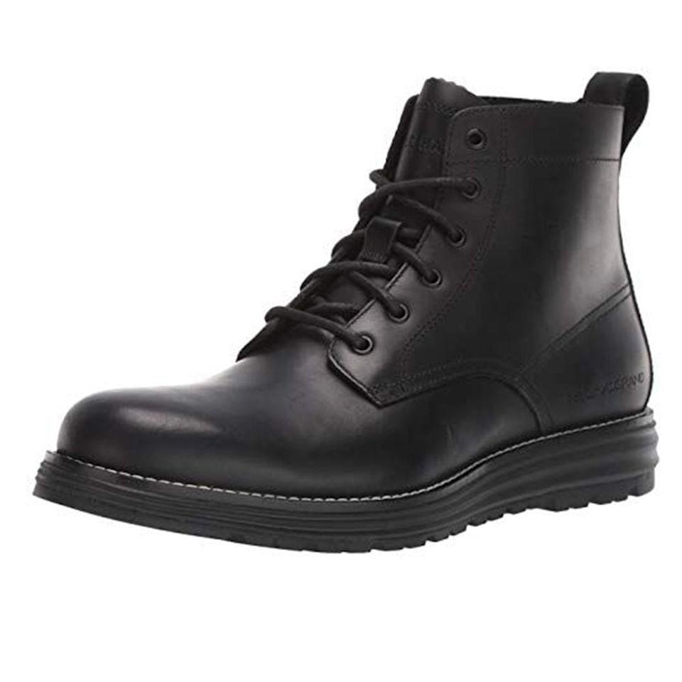 """<p><strong>Cole Haan</strong></p><p>amazon.com</p><p><strong>$125.60</strong></p><p><a href=""""https://www.amazon.com/dp/B07MQ34WPC?tag=syn-yahoo-20&ascsubtag=%5Bartid%7C2139.g.36007474%5Bsrc%7Cyahoo-us"""" rel=""""nofollow noopener"""" target=""""_blank"""" data-ylk=""""slk:BUY IT HERE"""" class=""""link rapid-noclick-resp"""">BUY IT HERE</a></p><p>If one-stop shopping is the name of your game, these boots from Cole Haan have you covered. As one reviewer put it, """"I was looking for exactly this type of boot, a dress boot that is also waterproof and slip resistant. This is the perfect combination."""" Wear it to the office, out on the weekends, on rainy days, or even on the hiking trail. Form meets function at a price that can't be beat. </p>"""