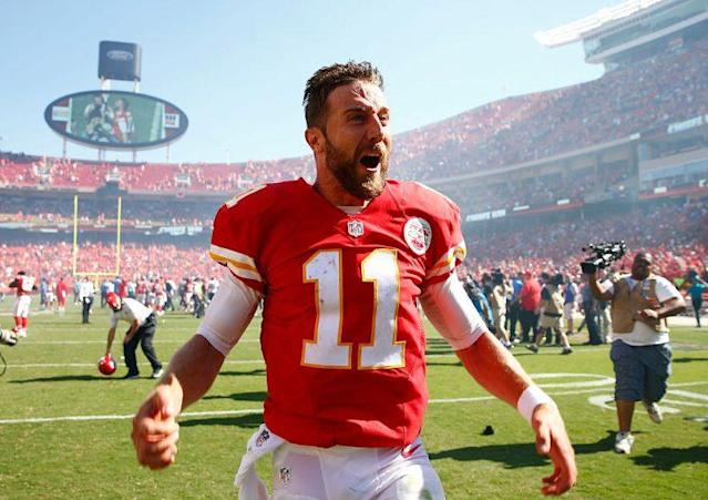 "Kansas City just drafted <a class=""link rapid-noclick-resp"" href=""/nfl/players/7177/"" data-ylk=""slk:Alex Smith"">Alex Smith</a>'s eventual replacement, but the takeover won't happen just yet. (Photo by Jamie Squire/Getty Images)"