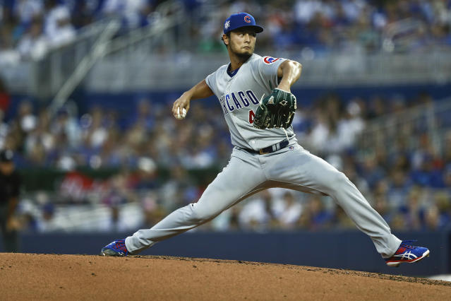 Chicago Cubs starting pitcher Yu Darvish delivers during the first inning of a baseball game against the Miami Marlins, Monday, April 15, 2019, in Miami. (AP Photo/Brynn Anderson)