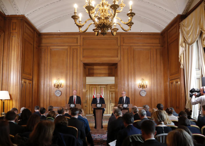 LONDON, ENGLAND - MARCH 03: Chief Medical Officer for England Chris Whitty, Britain's Prime Minister Boris Johnson and Chief Scientific Adviser Patrick Vallance during a press conference on the government's coronavirus action plan at Downing Street on March 3, 2020 in London, England.  Johnson is announcing plans for combating the spread of the new COVID-19 coronavirus in the UK. (Photo by Frank Augstein-WPA Pool/Getty Images)