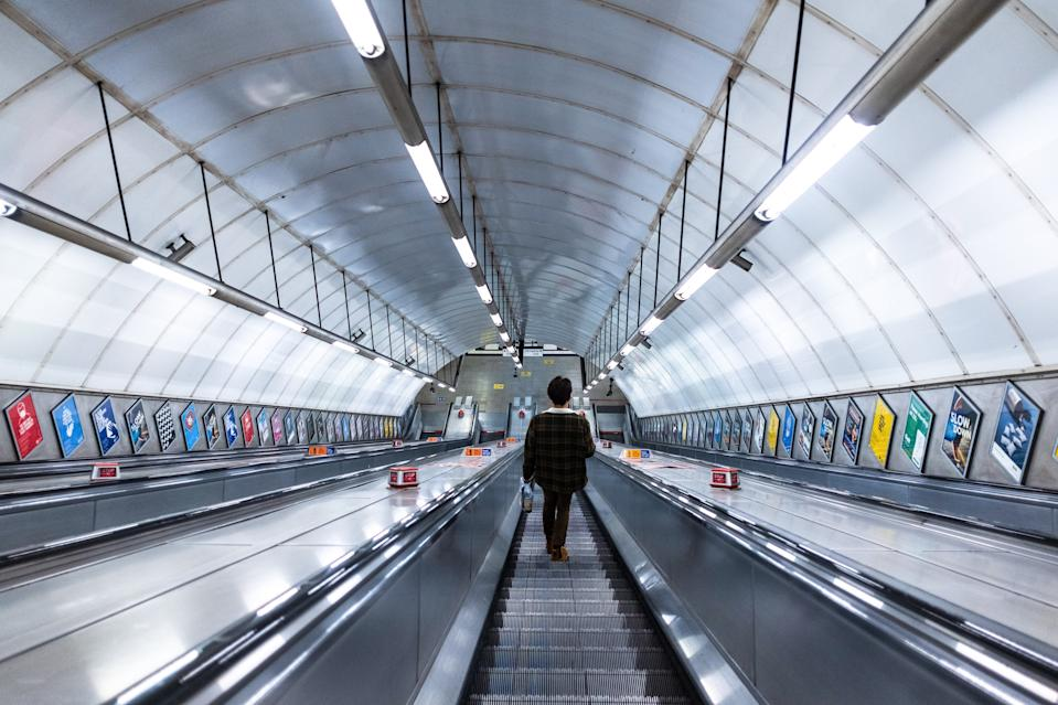 LONDON, UNITED KINGDOM - 2021/01/18: A man seen alone on the subway escalator in London. (Photo by May James/SOPA Images/LightRocket via Getty Images)