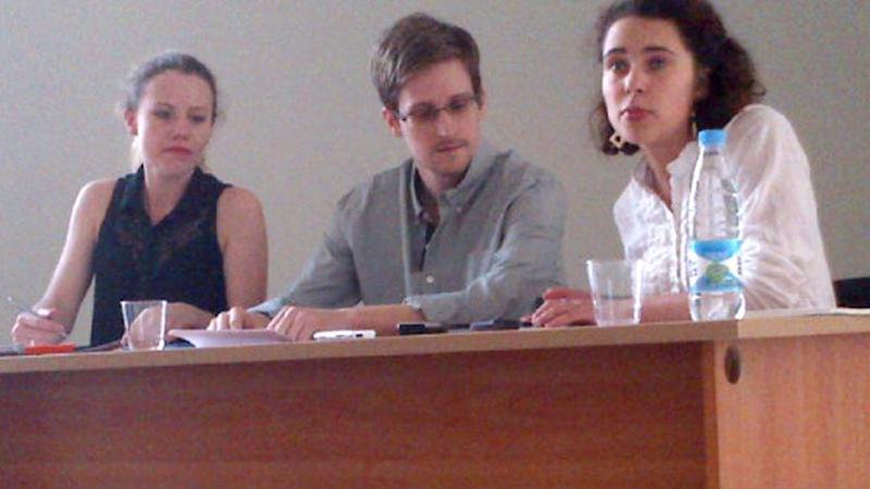 Edward Snowden meets with representatives of human rights groups and Russian officials at Moscow's Sheremetyevo International Airport in July 2013. (Photo: Tanya Lokshina/Human Rights Watch)