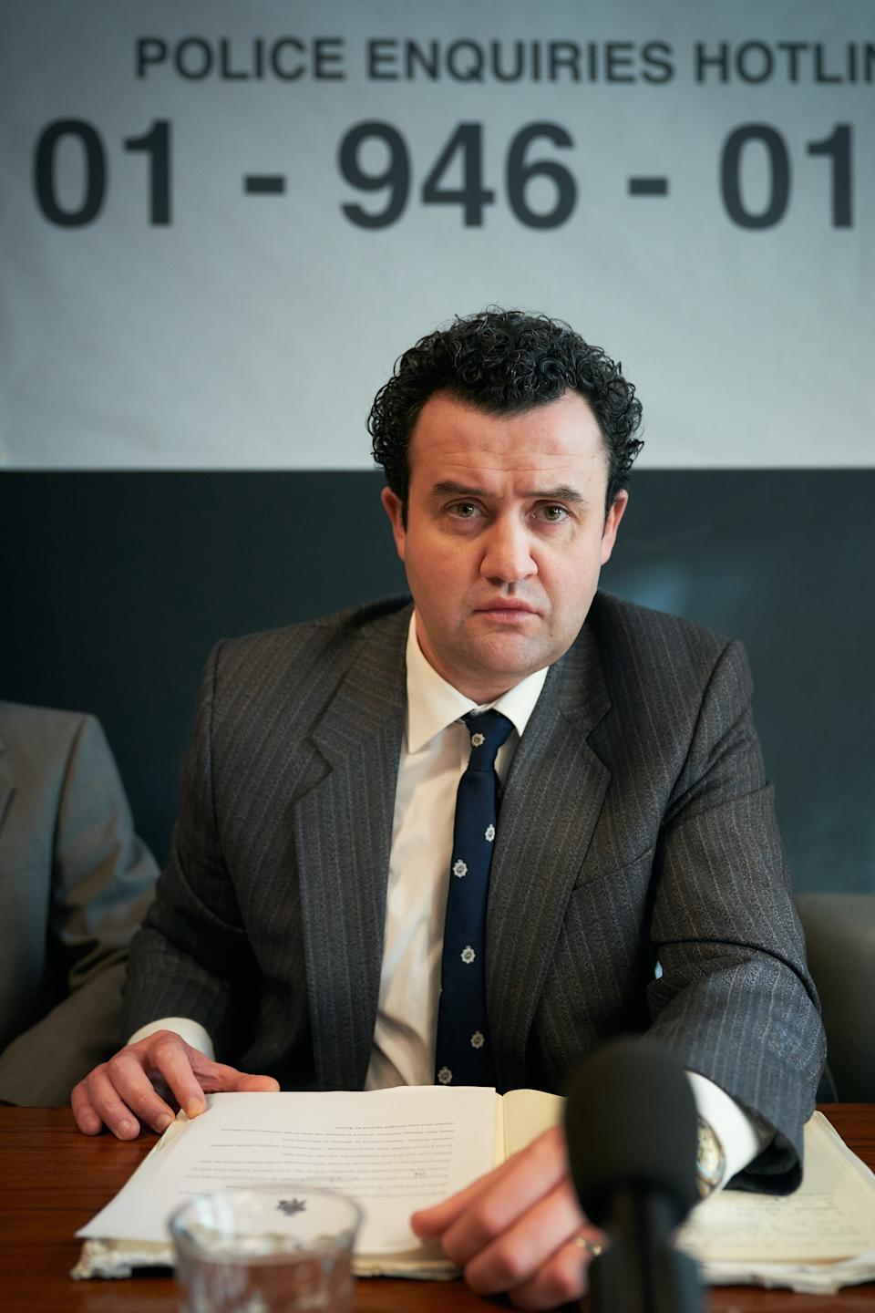 Daniel Mays as Detective Peter Jay meeting the press to appeal to the public to come to the police if they have any information on Nilsen. (ITV)