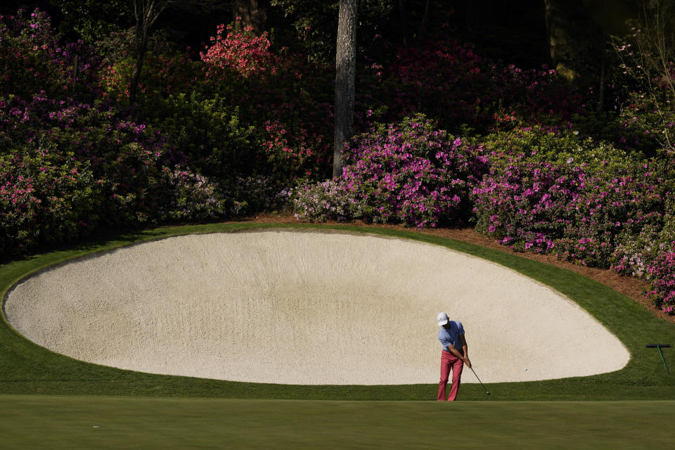 Billy Horschel putts on the 13th hole during a practice round for the Masters golf tournament on Monday, April 5, 2021, in Augusta, Ga. (AP Photo/Charlie Riedel)
