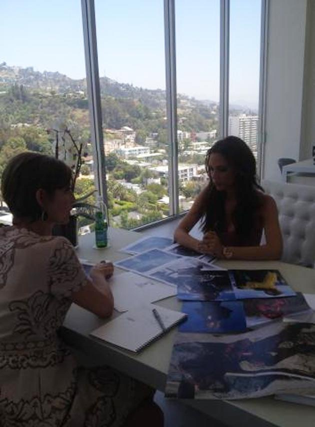 "Celebrity photos: Victoria Beckham has spent some time editing Glamour US' September issue and tweeted this photo of her hard at work. She said of the experience: ""I wanted to put my stamp on the magazine. They were really open to my ideas, like I wanted to show Lily Cole with not a lot of retouching. I have a very strong vision of what I like, and it's cool and a little more edgy."""