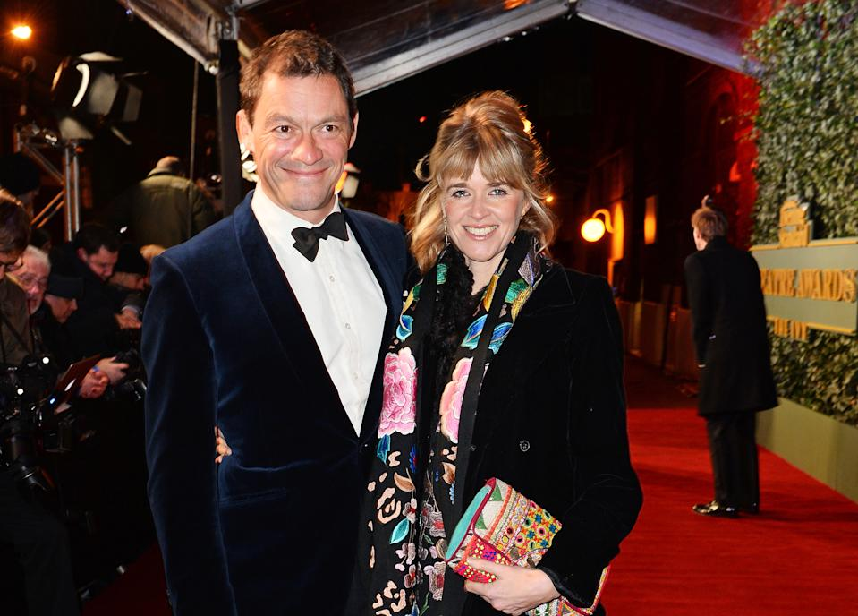 LONDON, ENGLAND - NOVEMBER 22:  Dominic West (L) and Catherine Fitzgerald arrive at The London Evening Standard Theatre Awards in partnership with The Ivy at The Old Vic Theatre on November 22, 2015 in London, England.  (Photo by David M. Benett/Dave Benett/Getty Images)