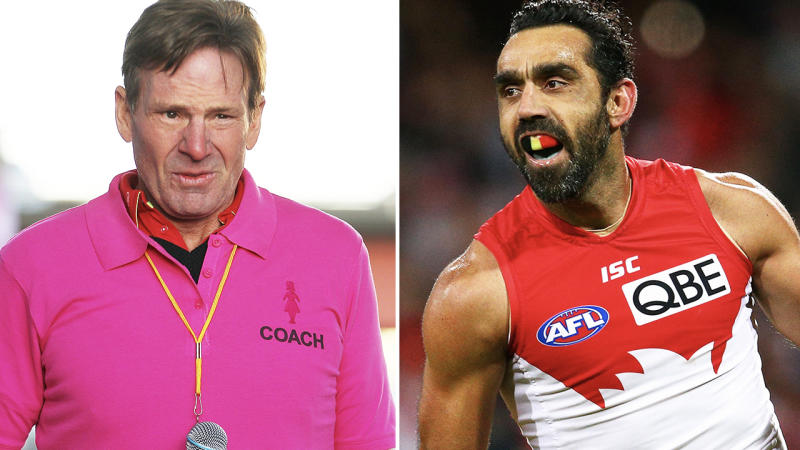 Sam Newman and Adam Goodes, pictured here earlier in their careers.