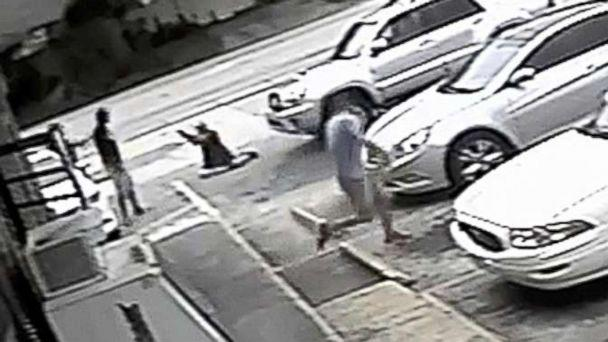 PHOTO: In this Thursday, July 19, 2018 image taken from surveillance video released by the Pinellas County Sheriff's Office, Markeis McGlockton, far left, is shot by Michael Drejka during an altercation in a parking lot in Clearwater, Fla. (Pinellas County Sheriff's Office via AP)