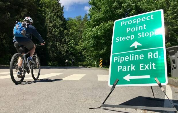Park Board commissioners voted in March to temporarily create a dedicated bike lane along Stanley Park Drive. (Karin Larsen/CBC - image credit)