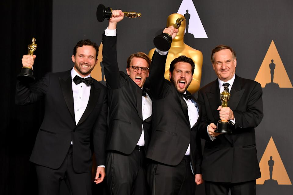 HOLLYWOOD, CA - FEBRUARY 26:  (L-R) Visual effects artists Dan Lemmon, Andrew R. Jones, Adam Valdez and Robert Legato, winners of the award for Visual Effects for 'The Jungle Book,' pose in the press room during the 89th Annual Academy Awards at Hollywood & Highland Center on February 26, 2017 in Hollywood, California.  (Photo by Steve Granitz/WireImage)