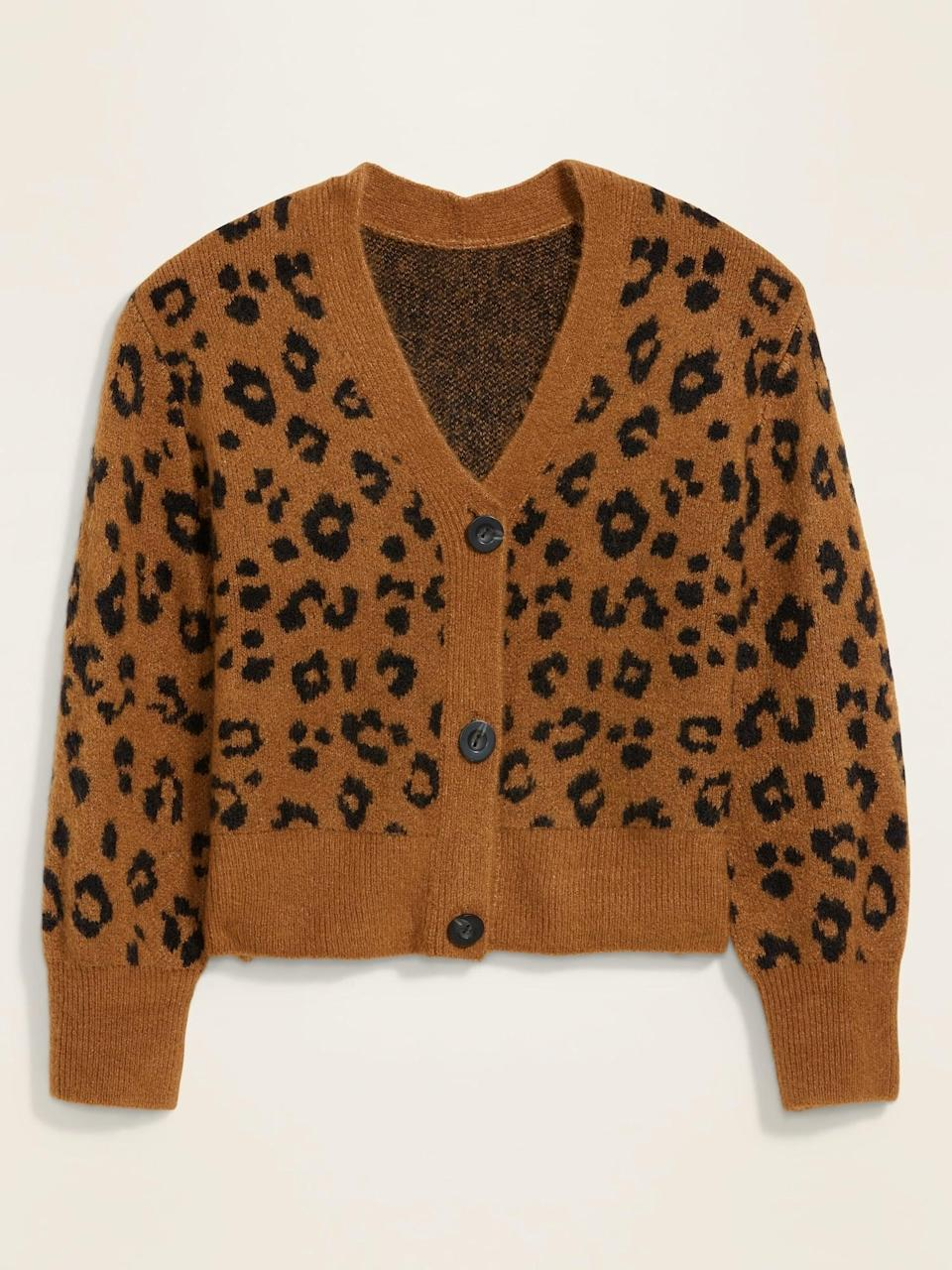 <p>Pair this <span>Leopard-Print V-Neck Cardigan Sweater</span> ($38, originally $40) with a print bottom for a bold contrast.</p>