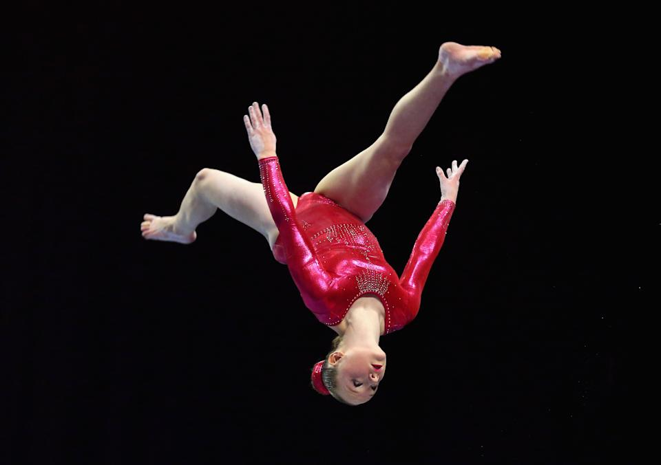 LIVERPOOL, ENGLAND - MARCH 28: Amy Tinkler of South Durham competes on the Beam during day two of the Mens & Womens Artistic British Championships 2015 at the Echo Arena on March 28, 2015 in Liverpool, England. (Photo by Alex Livesey/Getty Images)