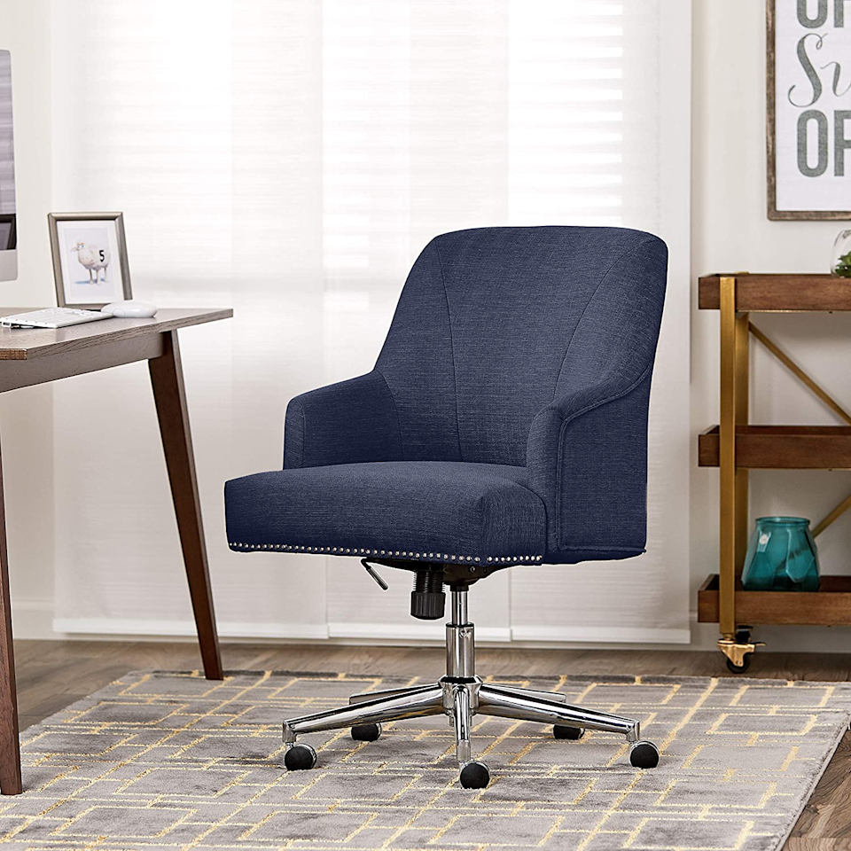 """<h2><a href=""""https://amzn.to/3kY8CoS"""" rel=""""nofollow noopener"""" target=""""_blank"""" data-ylk=""""slk:Serta Leighton Home Office Chair"""" class=""""link rapid-noclick-resp"""">Serta Leighton Home Office Chair</a></h2><br>If you need to see more on why this chair is so essential, opt for our total <a href=""""https://refinery29.com/en-us/home-office-chairs-reviews#slide-7"""" rel=""""nofollow noopener"""" target=""""_blank"""" data-ylk=""""slk:review"""" class=""""link rapid-noclick-resp"""">review</a>. Comfy butt included. <br><br><strong>Serta</strong> Leighton Home Office Chair, $, available at <a href=""""https://www.amazon.com/Serta-Leighton-Office-Chair-Light/dp/B06XTD992F/ref=pd_lpo_196_t_1/141-2708790-0202717"""" rel=""""nofollow noopener"""" target=""""_blank"""" data-ylk=""""slk:Amazon"""" class=""""link rapid-noclick-resp"""">Amazon</a>"""