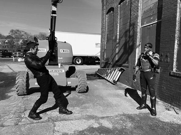 Sebastian Stan and Anthony Mackie on the set of The Falcon and The Winter Soldier (Credit: Instagram)