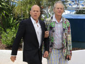 """Cast member Bruce Willis (L) and Bill Murray (R) pose during a photocall for the film """"Moonrise Kingdom"""", by director Wes Anderson, in competition at the 65th Cannes Film Festival, May 16, 2012. REUTERS/Yves Herman (FRANCE - Tags: ENTERTAINMENT)"""