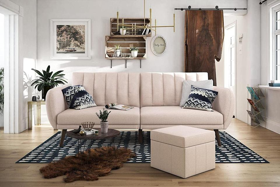 <p>This <span>Novogratz Brittany Linen Futon Couch</span> ($570) comes in eight pretty shades.</p>