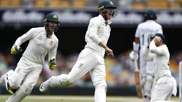 Australia drew first blood in the Test series, with the hosts outclassing Pakistan in Brisbane.