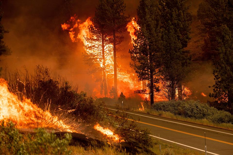 The Tamarack Fire burns in the Markleeville community of Alpine County, Calif., on Saturday, July 17, 2021.