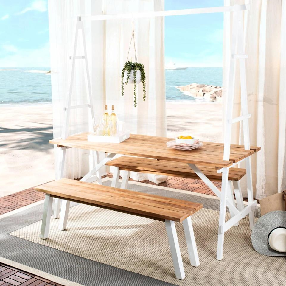 <p>The trellis-framed <span>Willamy Dining Set</span> ($1,231) is one of a kind. </p>