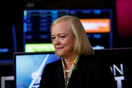 Hewlett Packard Enterprise CEO Meg Whitman is seen following an interview on CNBC on the floor of the NYSE in New York
