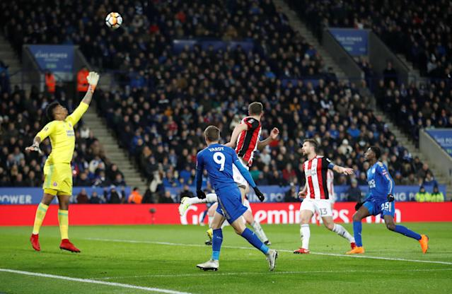 Soccer Football - FA Cup Fifth Round - Leicester City vs Sheffield United - King Power Stadium, Leicester, Britain - February 16, 2018 Leicester City's Jamie Vardy scores their first goal Action Images via Reuters/Carl Recine