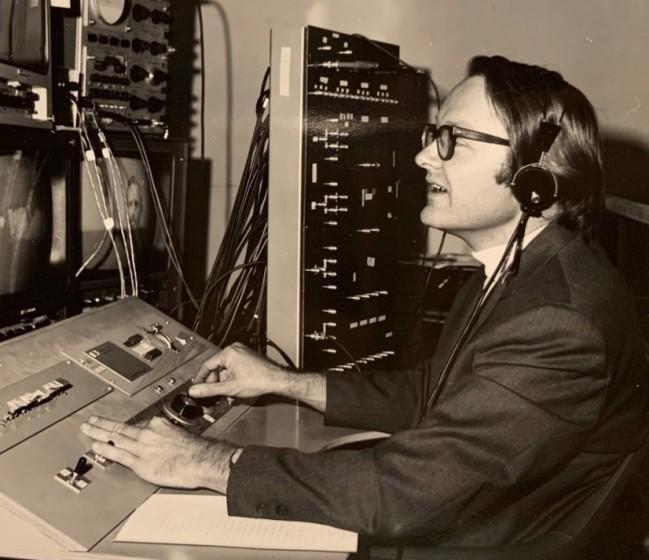 Bill English seen at the console of SRI's system in October 1968