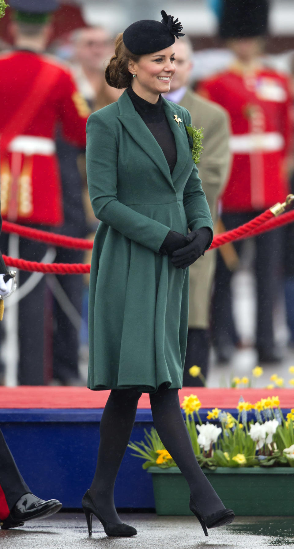 <p>The Duchess of Cambridge celebrated St Patrick's Day in 2013 in a forest green coat by Emilia Wickstead. <em>[Photo: Getty]</em> </p>