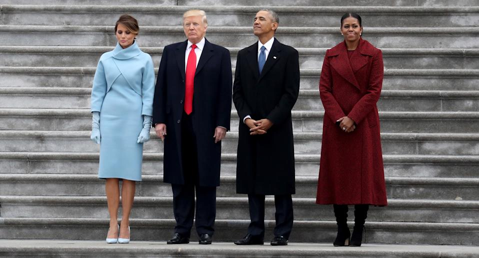 (from left to right) Melania trump, Donald Trump, Barack Obama and Michelle Obama at Trump's inauguration