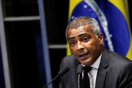 Former soccer player and Senator Romario speaks during the session debating the voting for the impeachment of President Dilma Rousseff in Brasilia