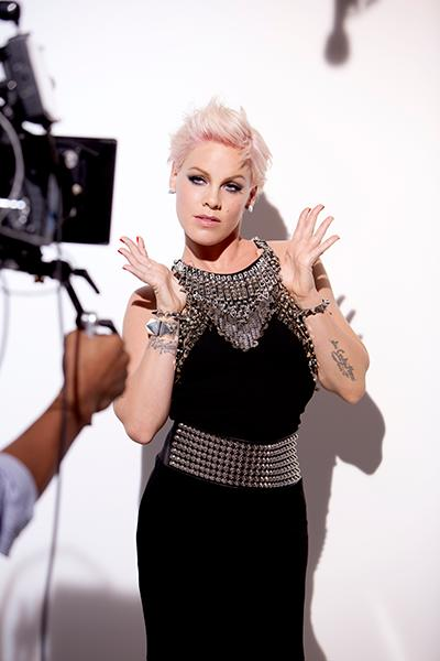 P!nk at her Fall 2012 COVERGIRL print ad campaign looking flawless in her signature smokey eyes and pink lips and a chainmail-accented gown.