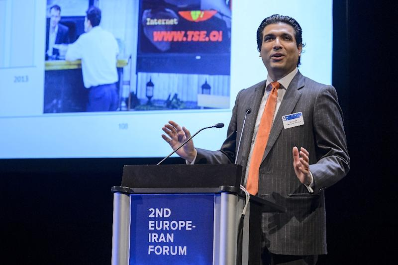 Turquoise Partners CEO Ramin Rabii addresses the assembly during the second Europe-Iran Forum in Geneva on September 24 2015