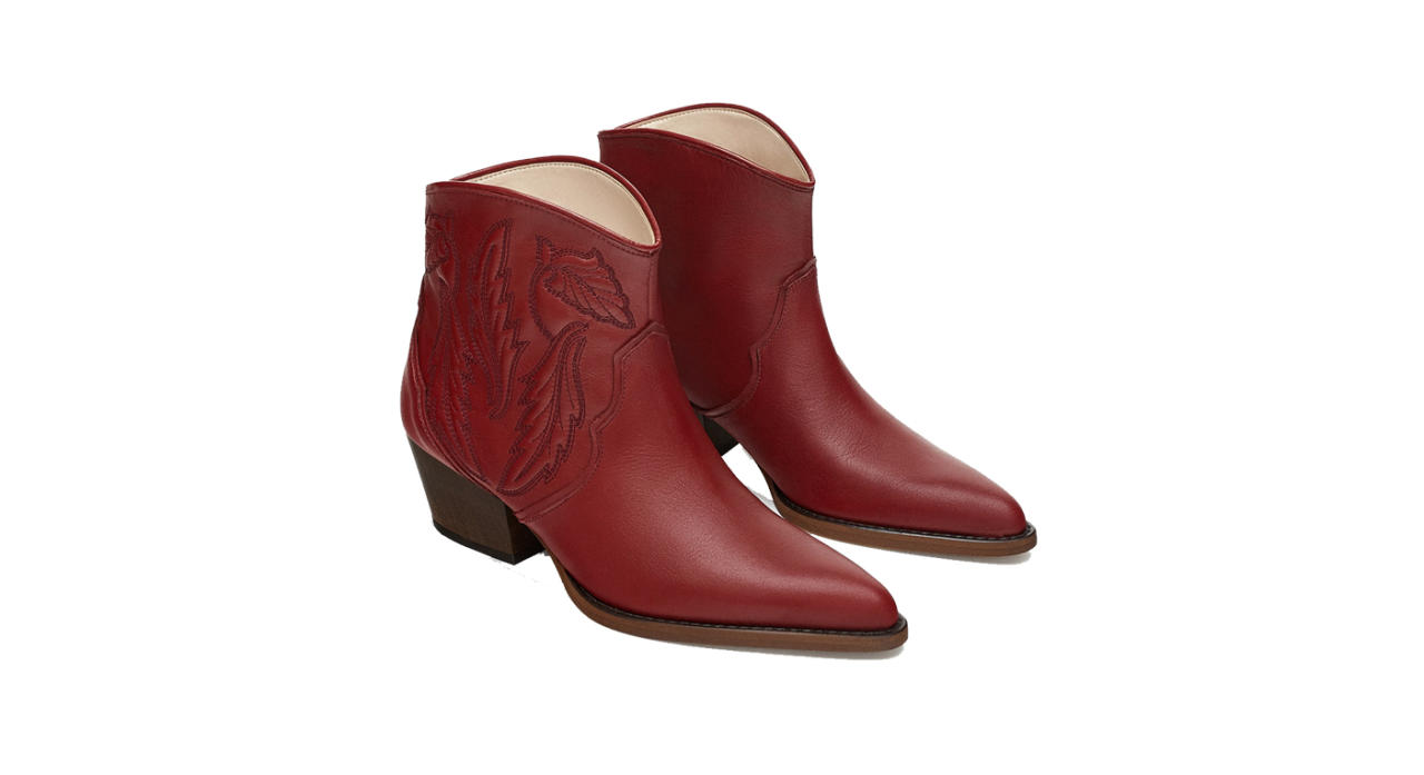 "<p>Look no further for this season's most coveted boots. From those hot pink Ganni numbers to Calvin Klein's take on the western trend, the cowboy boot is dominating our Instagram feeds RN. If the knee-high option proves too daring start small with these ankle booties courtesy of Zara. <a rel=""nofollow"" href=""https://www.zara.com/uk/en/embroidered-leather-cowboy-ankle-boots-p16175301.html?v1=6936652&v2=1074517""><em>Shop now</em></a>. </p>"