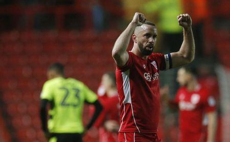 Britain Football Soccer - Bristol City v Huddersfield Town - Sky Bet Championship - Ashton Gate - 17/3/17 Bristol City's Aaron Wilbraham celebrates after the match Mandatory Credit: Action Images / Andrew Couldridge Livepic