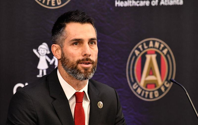 Jan 14, 2019; Marietta, GA, USA; Atlanta United technical manager Carlos Bocanegra introduces new head coach Frank de Boerduring (not shown) during a press conference at Childrens Healthcare of Atlanta Training Ground. Mandatory Credit: Dale Zanine-USA TODAY Sports