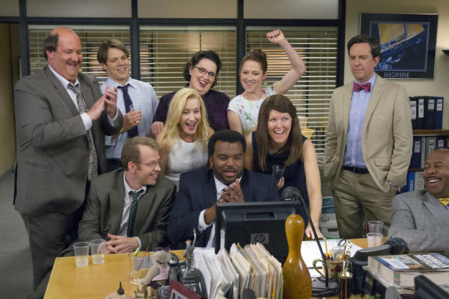 """Finale"" Episode 924/925 -- Pictured: (l-r) Brian Baumgartner as Kevin Malone, Jake Lacy as Pete, Paul Lieberstein as Toby Flenderson, Angela Kinsey as Angela Martin, Phyllis Smith as Phyllis Vance, Craig Robinson as Darryl Philbin, Ellie Kemper as Erin Hannon, Kate Flannery as Meredith Palmer, Ed Helms as Andy Bernard, Leslie David Baker as Stanley Hudson"