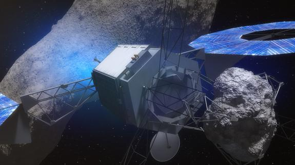 This artist's illustration depicts NASA's Option B for the Asteroid Redirect Mission, a plan to retrieve a boulder from an asteroid and park it near the moon for astronauts to study later.