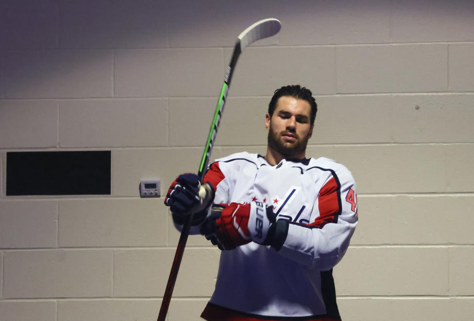 Washington Capitals' Tom Wilson prepares for warmups for the team's NHL hockey game against the New York Rangers on Wednesday, May 5, 2021, in New York. (Bruce Bennett/Pool Photo via AP)