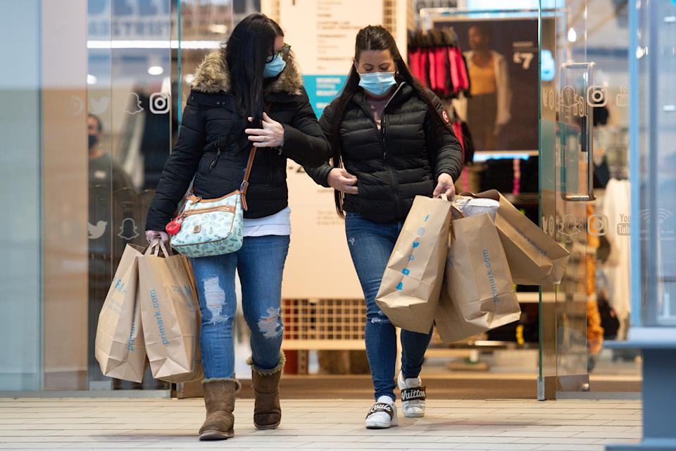 Early morning shoppers at Primark, in Birmingham, as England takes another step back towards normality with the further easing of lockdown restrictions. Picture date: Monday April 12, 2021.