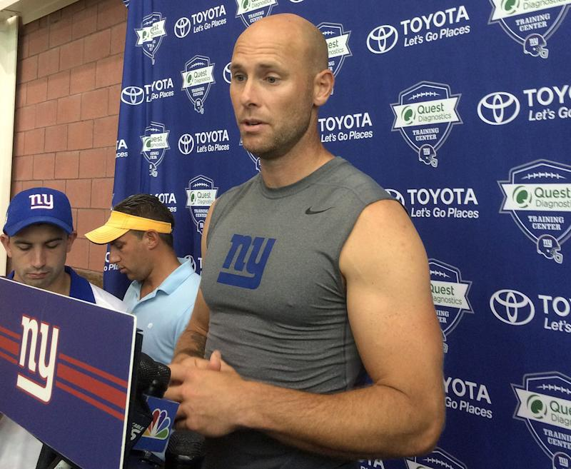 New York Giants kicker Josh Brown speaks with reporters at NFL football training camp on Thursday, Aug. 18, 2016, in East Rutherford, N.J. Brown has confirmed that an arrest on a domestic violence charge in May 2015 led to his one-game suspension by the NFL for violating the league's personal conduct policy.