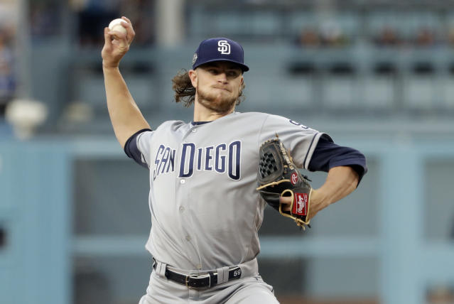 San Diego Padres starting pitcher Chris Paddack throws to a Los Angeles Dodgers batter during the first inning of a baseball game Tuesday, May 14, 2019, in Los Angeles. (AP Photo/Marcio Jose Sanchez)